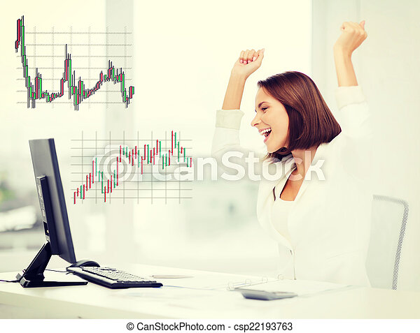 businesswoman with computer in office - csp22193763