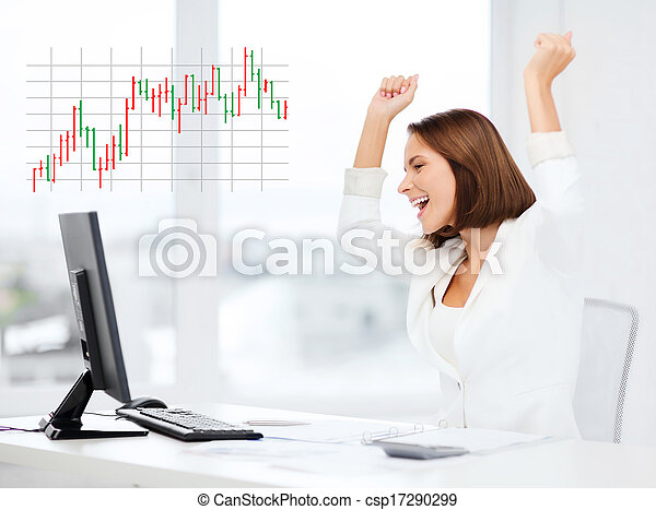 businesswoman with computer in office - csp17290299
