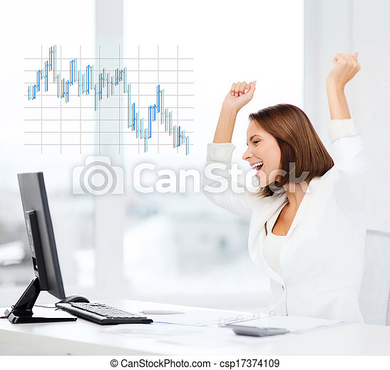 businesswoman with computer in office - csp17374109