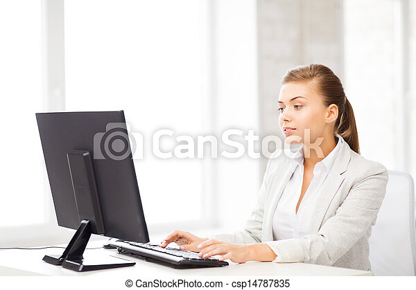 businesswoman with computer in office - csp14787835