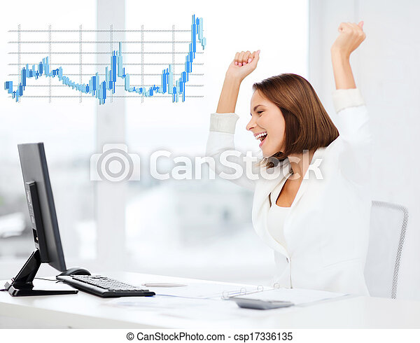 businesswoman with computer in office - csp17336135