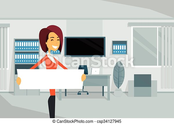 Businesswoman With Empty White Board, Business Woman Standing In Office - csp34127945