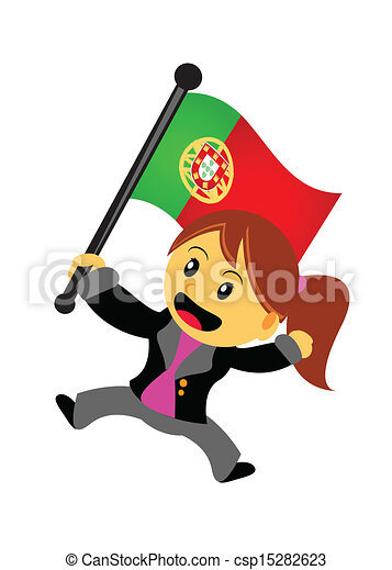 businesswoman with flag - csp15282623