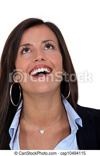 Businesswoman with look of  amazement on face - csp10494115