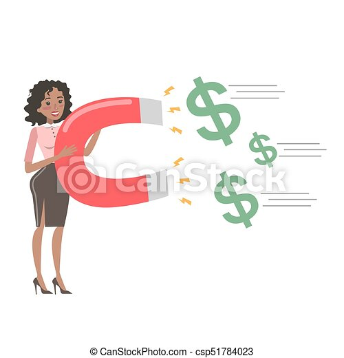 Businesswoman with magnet. - csp51784023