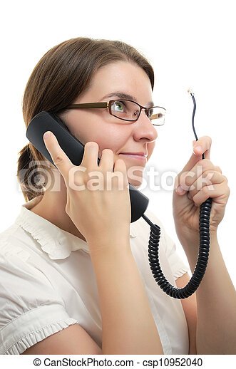 Businesswoman with Phone Receiver and Cord - csp10952040