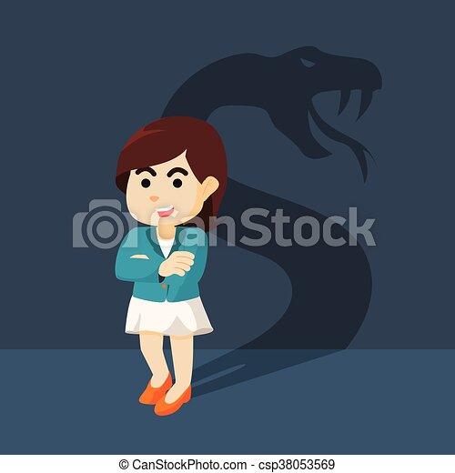 Businesswoman with shadow snake - csp38053569