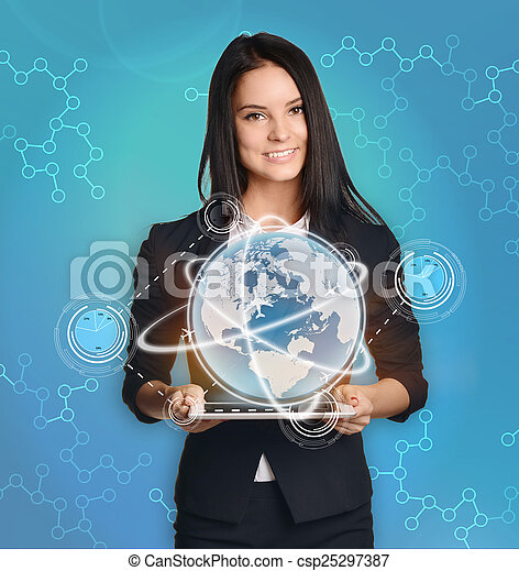 businesswoman with tablet pc control the world market finance - csp25297387
