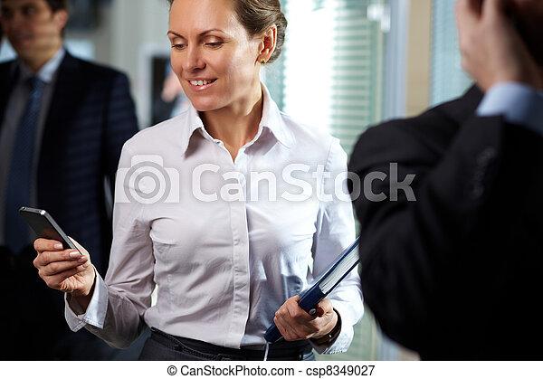 Businesswoman with telephone - csp8349027