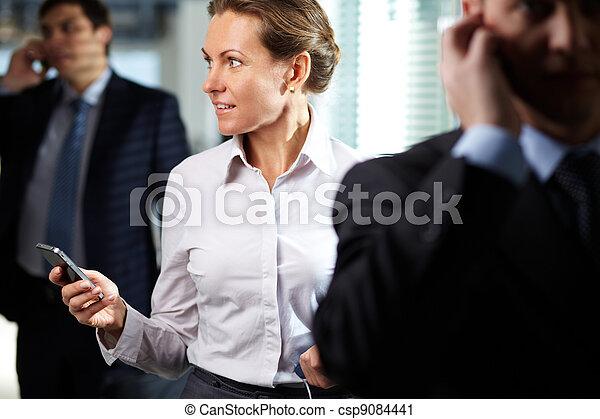 Businesswoman with telephone - csp9084441