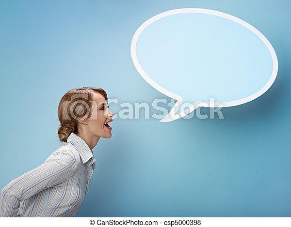 businesswoman with think balloon - csp5000398