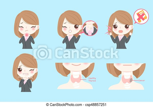 businesswoman with thyroid cancer - csp48857251