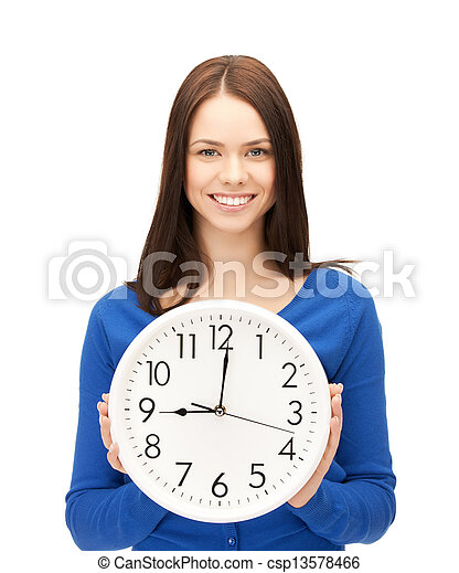 businesswoman with wall clock - csp13578466