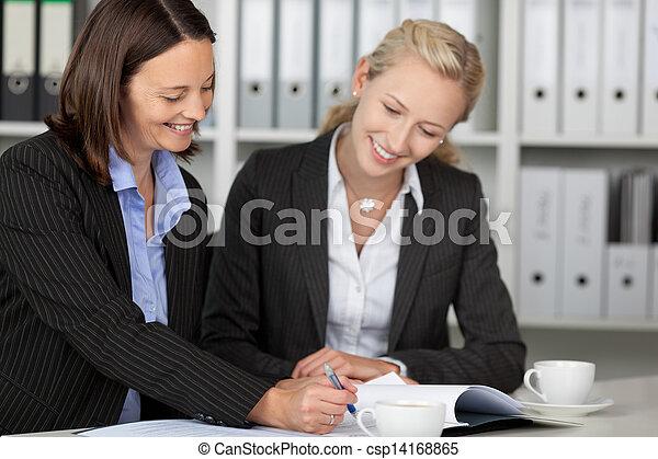 Businesswomen Working On File At Desk - csp14168865
