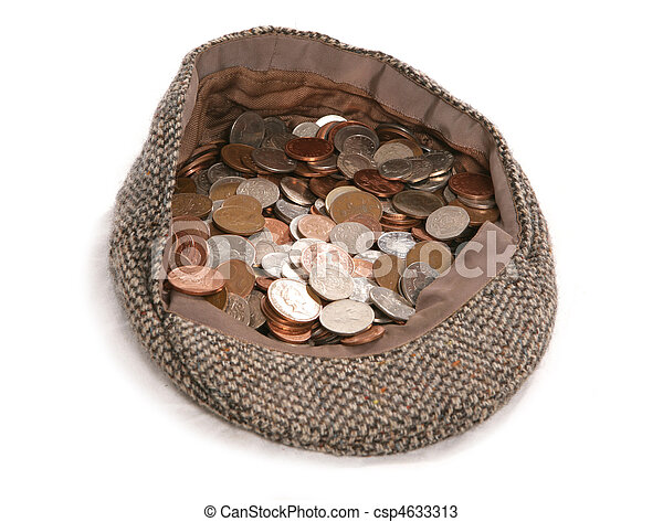 busking flat cap with british coins