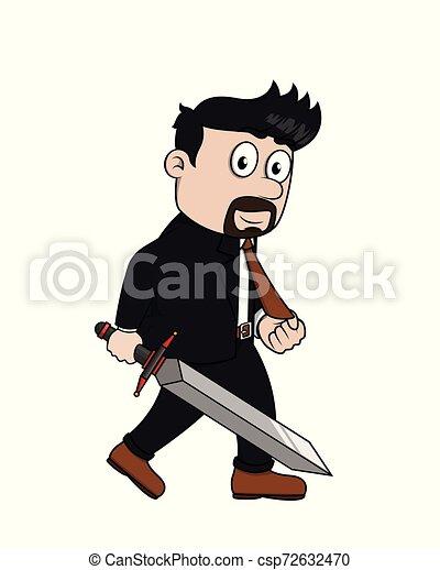 bussinessman holding a sword - csp72632470
