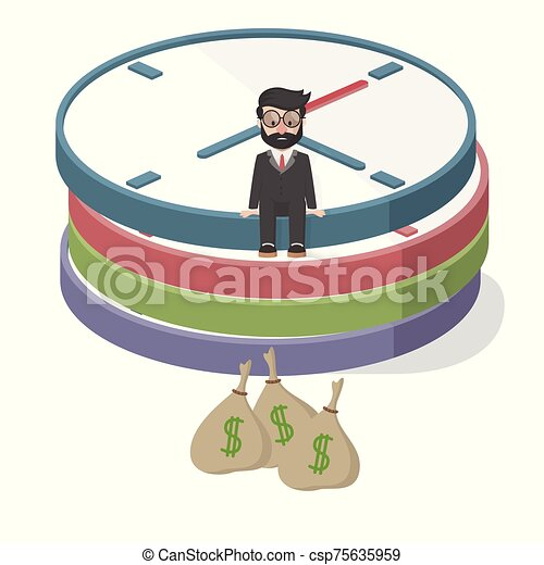 bussinessman wasting time looking money - csp75635959