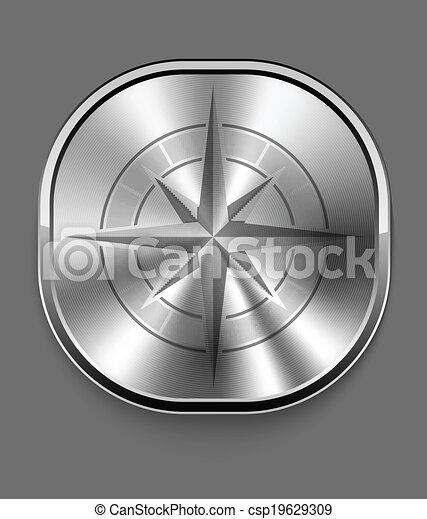 bussola, metallo, icona - csp19629309
