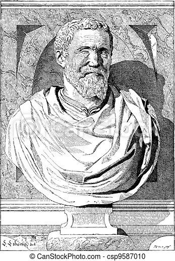 Bust of Michaelangelo, vintage engraving - csp9587010