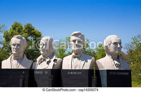 busts of four statesmen carved statues on Houston - csp14309374