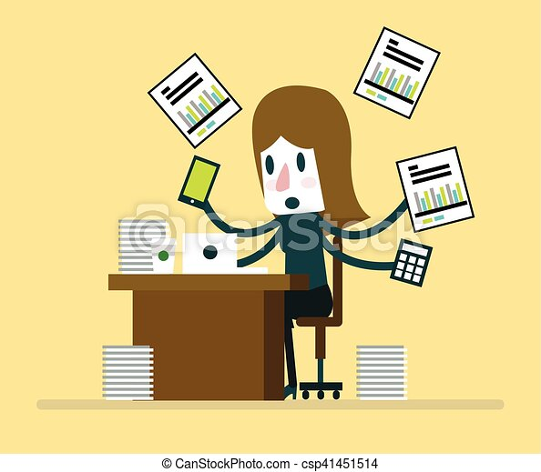 Busy Businesswoman Working With 41451514 on Flat Design Office Desk