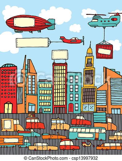 Busy cartoon city - csp13997932