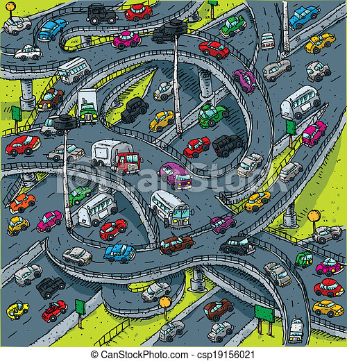 Busy Highway Intersection - csp19156021