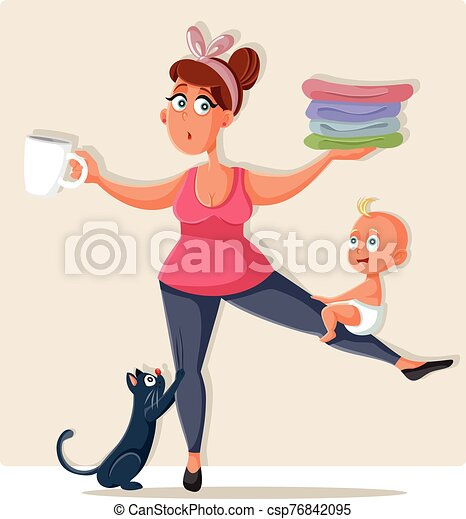 Busy Mom Feeling Overwhelmed with Household Chores - csp76842095