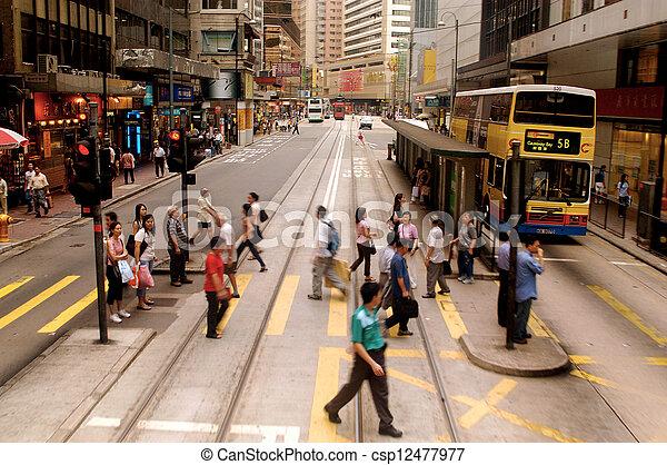 Busy street in Hong Kong, China - csp12477977