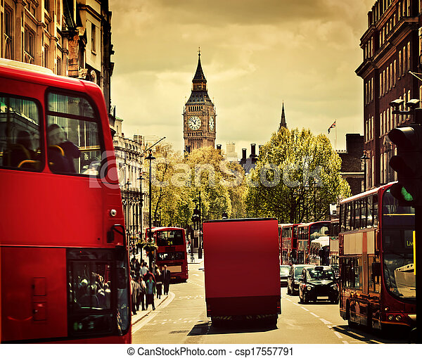 Busy street of London, England, the UK. Red buses, Big Ben - csp17557791