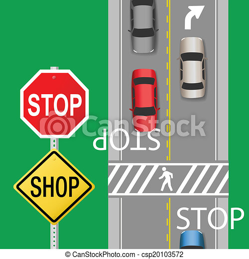 Well-known Busy traffic cars stop sign street. Signs to stop cars to  WH72