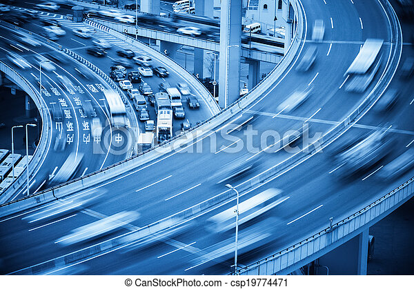 busy traffic closeup and road accident - csp19774471