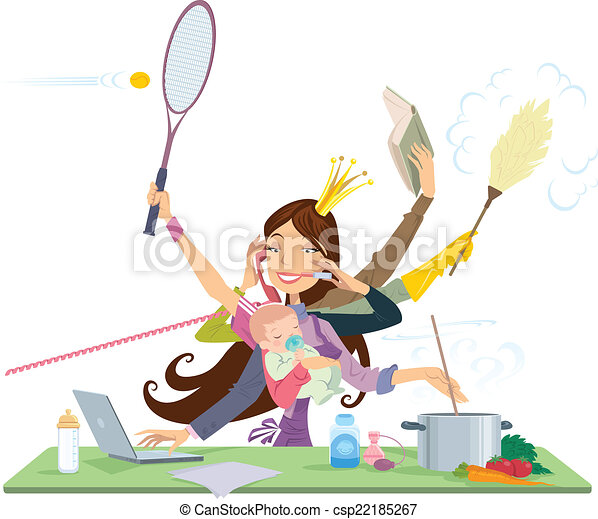 Busy woman doing many things at the same time - csp22185267
