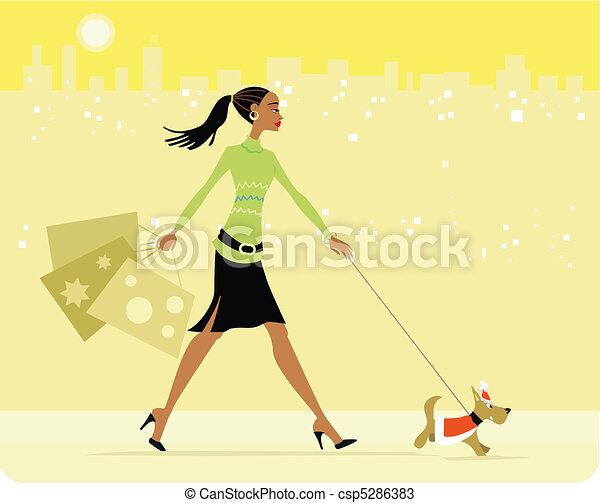 Busy woman shopping walking dog - csp5286383