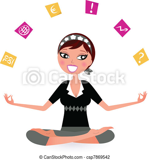 Busy woman with notes trying to relax in yoga position.  Vector retro Illustration  - csp7869542