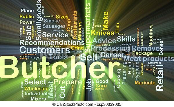 Butcher background concept glowing - csp30839085