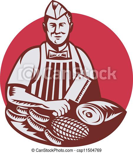 Butcher Cutter Worker Meat Cleaver Knife Retro - csp11504769