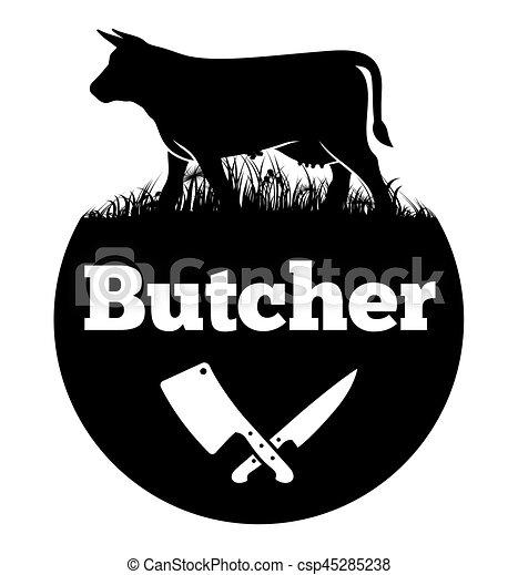 butcher vector illustration of the logo for butcher rh canstockphoto com butchery logo butcher's logopedia