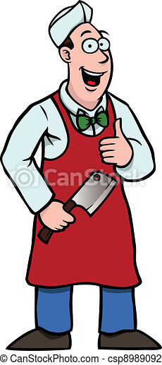 Butcher with a cleaver and his thumbs up - csp8989092