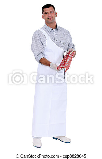 butcher with piece of meat - csp8828045