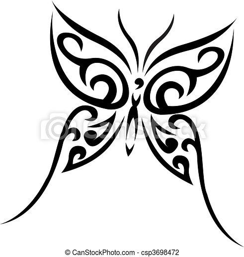 Buterfly tribal vector tattoo - csp3698472