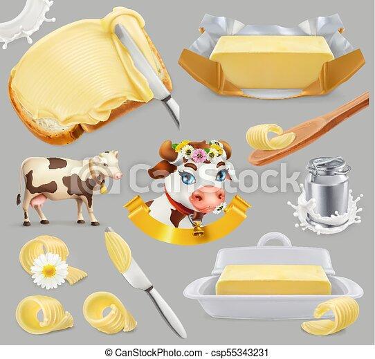 Butter. Milk farm. 3d realistic vector icon set - csp55343231