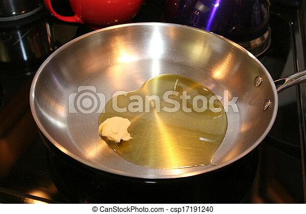 Pan mit Butter und Olivenöl - csp17191240