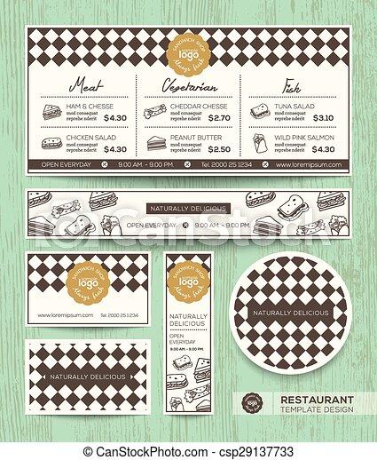 Butterbrot, restaurantmenü, design, schablone, café. Vektor, diamant ...