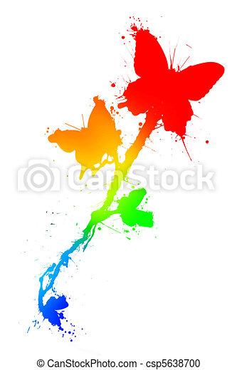 Butterfiles in paint splatter - csp5638700