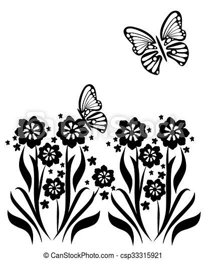 butterflies and flowers 14 - csp33315921