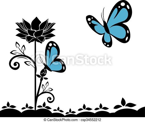 butterflies and flowers 19 - csp34552212