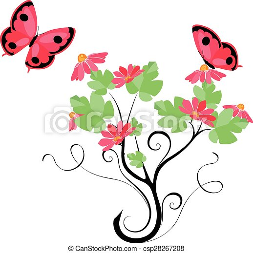 butterflies and flowers  - csp28267208