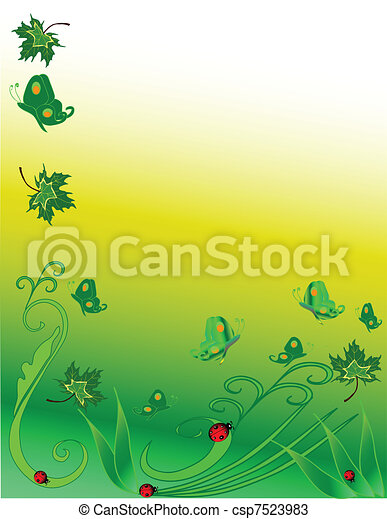 Butterflies and ladybugs - csp7523983