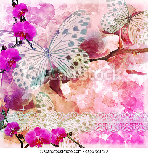 Butterflies and orchids flowers  pink background ( 1 of set) - csp5723730